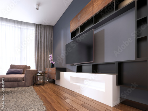 Tv Unit In Contemporary Living Room With Corner Fabric Big Sofa And