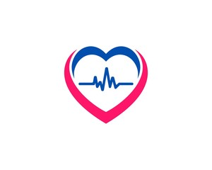Heart Pulse People Color Flat Logo Icon Design