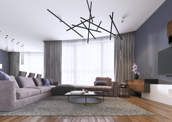 Chic living room filled with built-in cabinets, violet corner sofa, soft sofa facing two low tables and window wall. Contemporary style.
