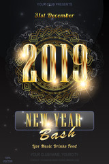 Christmas Vector EPS 10. 2019 New Year party invitation on dark background with blurred lights and ornament pattern. Christmas or Happy New Year background template. Abstract texture layout.