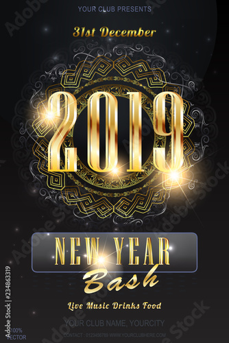 2019 new year party invitation on dark background with blurred lights