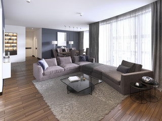 Colorful modern apartments with big corner sofa and TV storage and long-transparent curtains.
