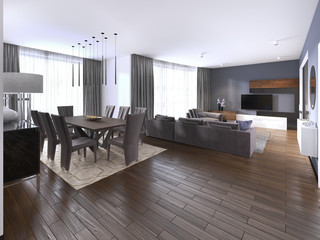 contemporary studio apartment and kitchen in open space modern interior.