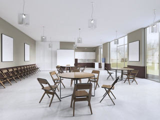 Training room with round tables and brown furniture.