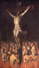 Fototapete - PRAGUE, CZECH REPUBLIC - OCTOBER 13, 2018: The painting of Crucifixion among the souls in Purgatory in the church kostel Svatého Ignáce by  Jan Jiří Heinsch (1647 - 1712).