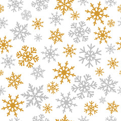 Elegant silver and gold snowflakes seamless pattern. Snowflake line christmas frost in silver and golden colors on white background for xmas greeting card or new year banner