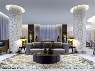 Reception and lounge area in hotel, Luxury sofa with two armchair with side tables with golden lamps and coffee table.