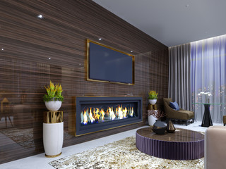 Luxurious modern fireplace in the hotel, in a cozy waiting area, wooden wall with built-in TV and fireplace. With stands for flowerpots and burning fire. TV unit.