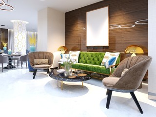 Reception area and lounge area with beautiful colored furniture, a sofa with two armchairs, metal legs and soft upholstery. The painting on the wooden wall, decorative flowerpots and a magazine table.