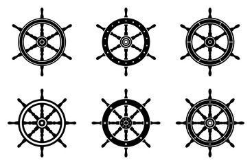 Ship wheel icon set. Silhouette vector