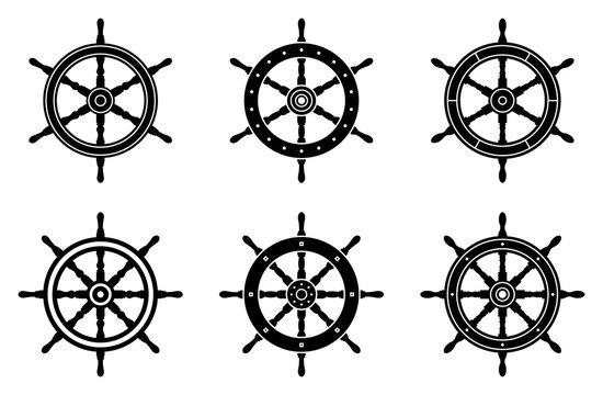 Ship wheel icon set. Silhouette vector