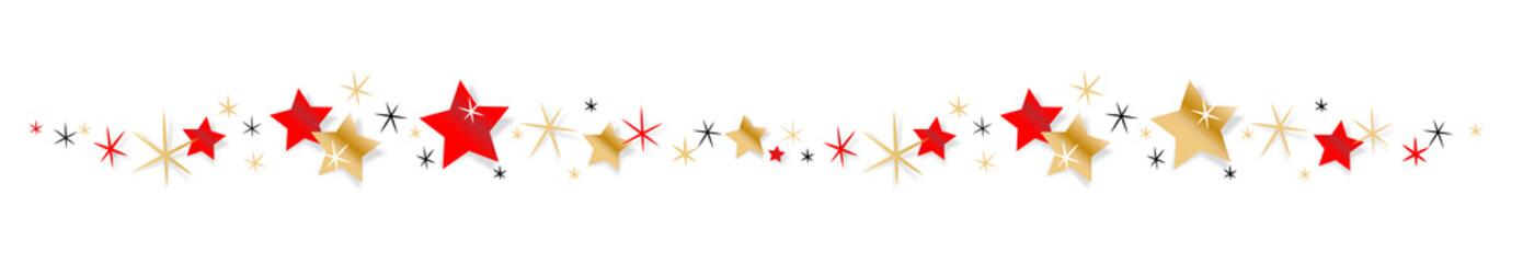 Frise étoiles rouges et or