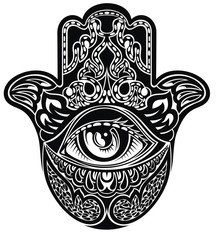 Hamsa, hand of Fatima, vector illustration