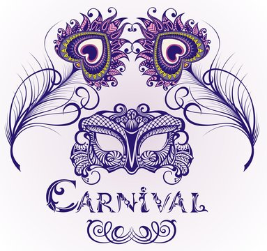 Mardi Gras vector background. Beautiful mask