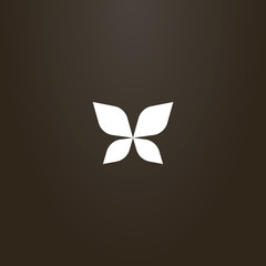 white sign on a black background. vector outline sign of abstract butterfly wings