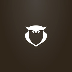 white sign on a black background. vector outline sign of owl bird shape