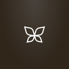 white sign on a black background. vector outline sign of line art butterfly wings