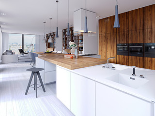 Bright kitchen contemporary style overlooking the living. White and wooden facade. Built-in appliances and designer hoods. Suspended lamps on a massive countertop bar. White parquet.