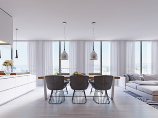 Contemporary dining room with large table and loft style chairs.