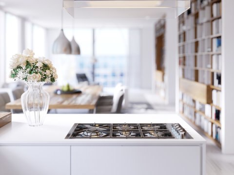 Modern technological built-in kitchen appliances, hob, gas stove, mixer, sink.
