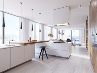 White corner kitchen in contemporary style, with bar top and black chairs. Suspended lamps and square hood, panoramic windows and dining area.