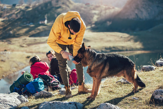Group of people taking a break, relaxing during a hike. Man gives water to the dog