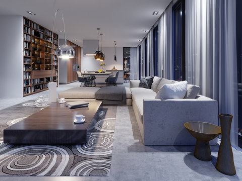 luxurious interior of the living room studio in contemporary design with kitchen and dining room. Evening light in the interior with large windows and views of the evening city. 3d rendering.
