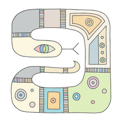 Vector hand drawn colorful illustration of isolated snake with decorative geometrical elements, lines, dots. Picture for coloring. Line drawing. Graphic illustration.