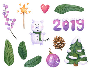 Funny watercolor christmas set with little snow piggy. Hand painted fir branches, cone, ball, magic wand, heart and digits in the snow isolated on white. Winter elements for New year decoration
