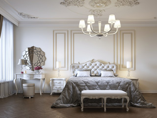 Luxurious bedroom with bed and bedside tables and dressing table. Concept interior, home, comfort, hotel.