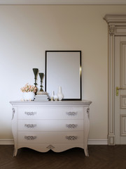 classic dresser with decor and a picture in a modern apartment.