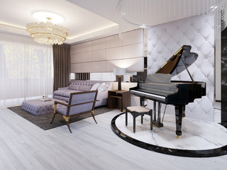 Beautiful piano in the luxury lounge. Purple sofa with chair and table, pendant lamps, rhinestones.