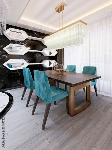 Modern dining room with art deco dining table. Decorative ...