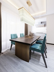 Luxurious dining room with dining table and kitchen.