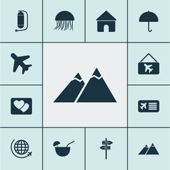Tourism icons set with parasol, picture airplane, house and other flight
