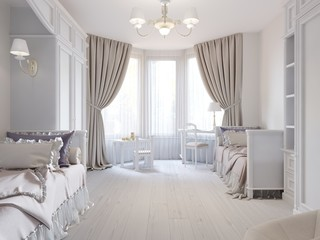 Bright children's room in a classic style and white flowers, with two beds.