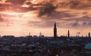 Dark silhouette skyline of Copenhagen
