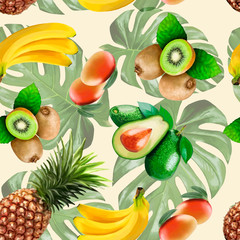 Exotic fruits in a pattern on a light background.
