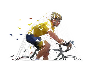 Cycling, low polygonal road cyclist in yellow jersey, side view. isolated vector geometric illustration