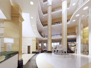 The lobby of the five-star hotel in a modern style with marble walls and pillars.