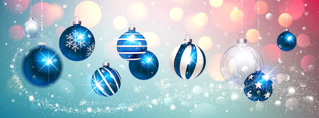 Blue Christmas Balls on Colorful Winter Background. Vector