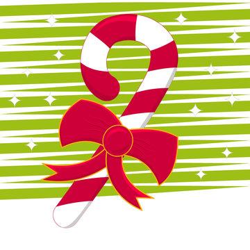 Christmas X-MAS cane with bow
