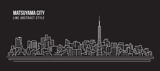 Cityscape Building Line art Vector Illustration design - Matsuyama city