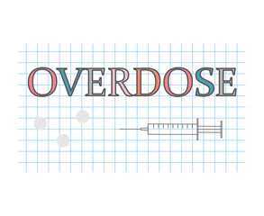 overdose word on checkered paper sheet- vector illustration