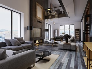 Luxury duplex loft-style apartment, contemporary furniture and brick walls with designer fireplace in the interior, interior design in the loft style.