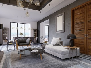 Luxury duplex loft-style apartment, contemporary furniture and brick walls with designer fireplace in the interior, interior design in the loft style.