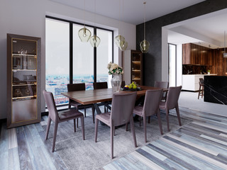 Panoramic windows in luxury dining room with wooden table and leather chairs next to showcase and designer hanging lamps.