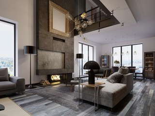 New design living room with a large fireplace to the ceiling in a loft style with sofas, an armchair and a dining table. Large windows and second level.