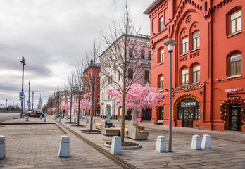 Novaya Square in spring cloudy day. Moscow, Russia.