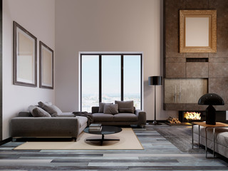 Luxurious living room in a loft design, with a high ceiling and a large corner sofa near the panoramic window. Large concrete fireplace with fire. Pictures of mockup on the wall. Fototapete